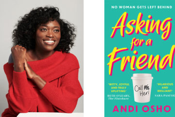 Portrait of Andi Osho and cover of her book Asking For A Friend