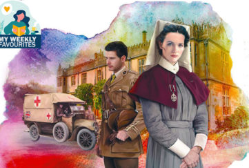 Illustration of WW2 matron and army captain standing in front of stately home