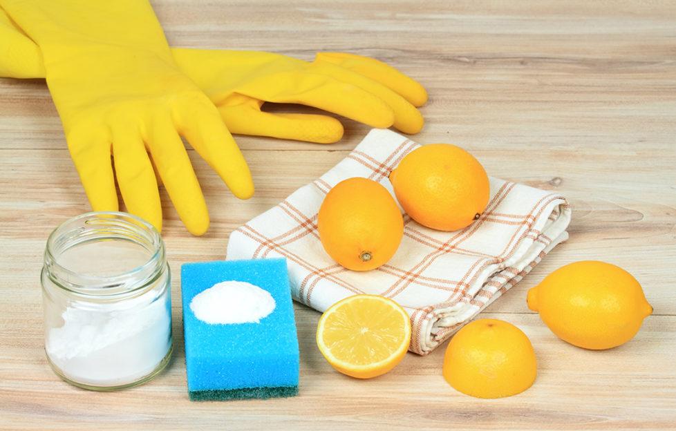 Rubber gloves, lemon and salt Pic: Shutterstock