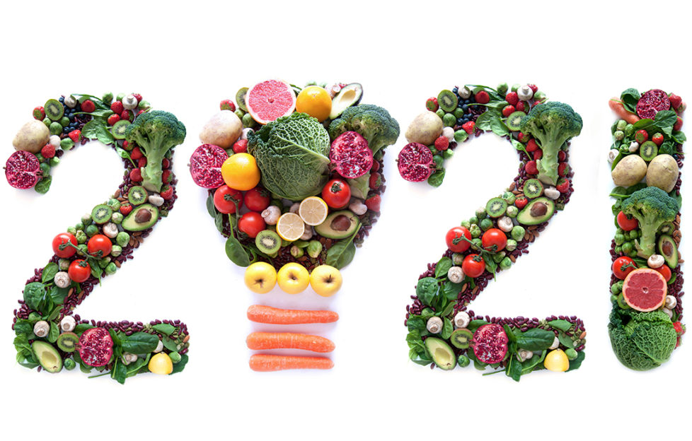 2021 made of fruits and vegetables including a light bulb icon;