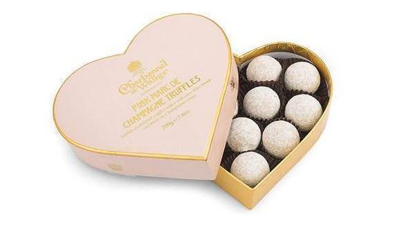 Heart shaped Champagne truffles box