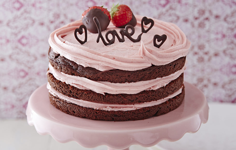 Valentine's Day choc cake with love lettering