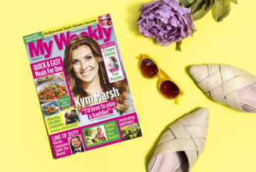 My Weekly March 16 with Kym Marsh and cookery for 1 and 2, with a lilac peony, 60s style sunglasses and sandals