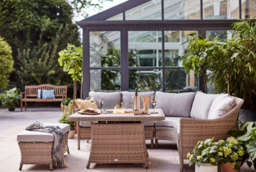 Outdoor seating with firepit, dobbies summer 2021