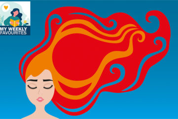 Vector illustration, red hed woman with closed Eyes,