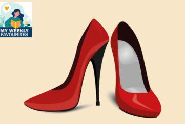 red stilettos, black heels