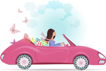Lady in a pink car Illustration: Shutterstock