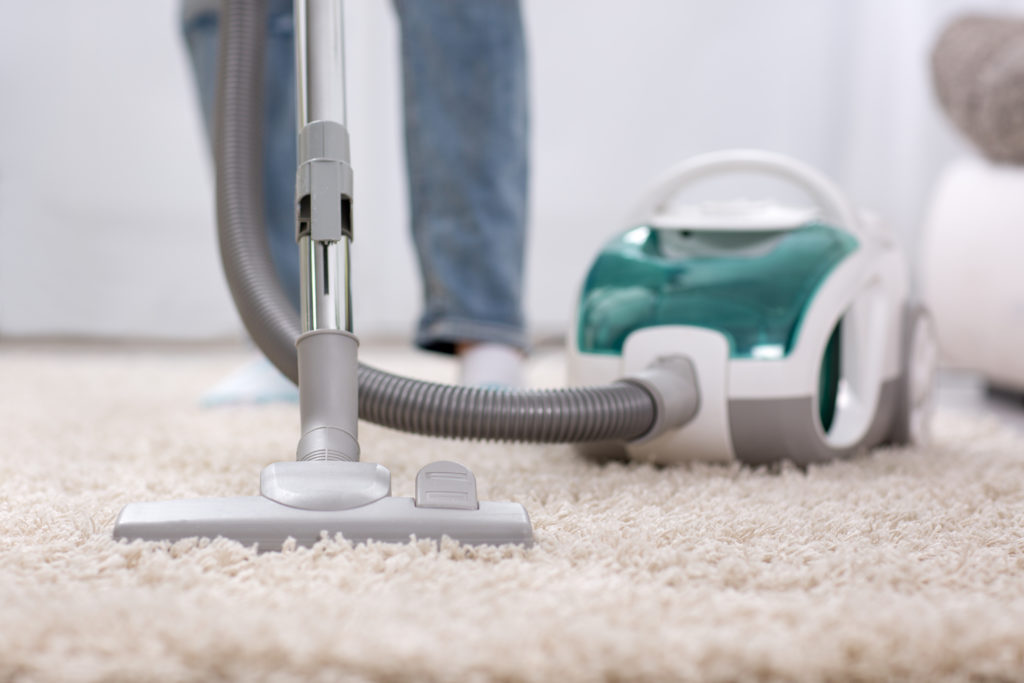 Cleaning carpet with vaccum cleaner at home;
