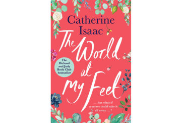cover of the world at my feet, garden flowers, red background, white script