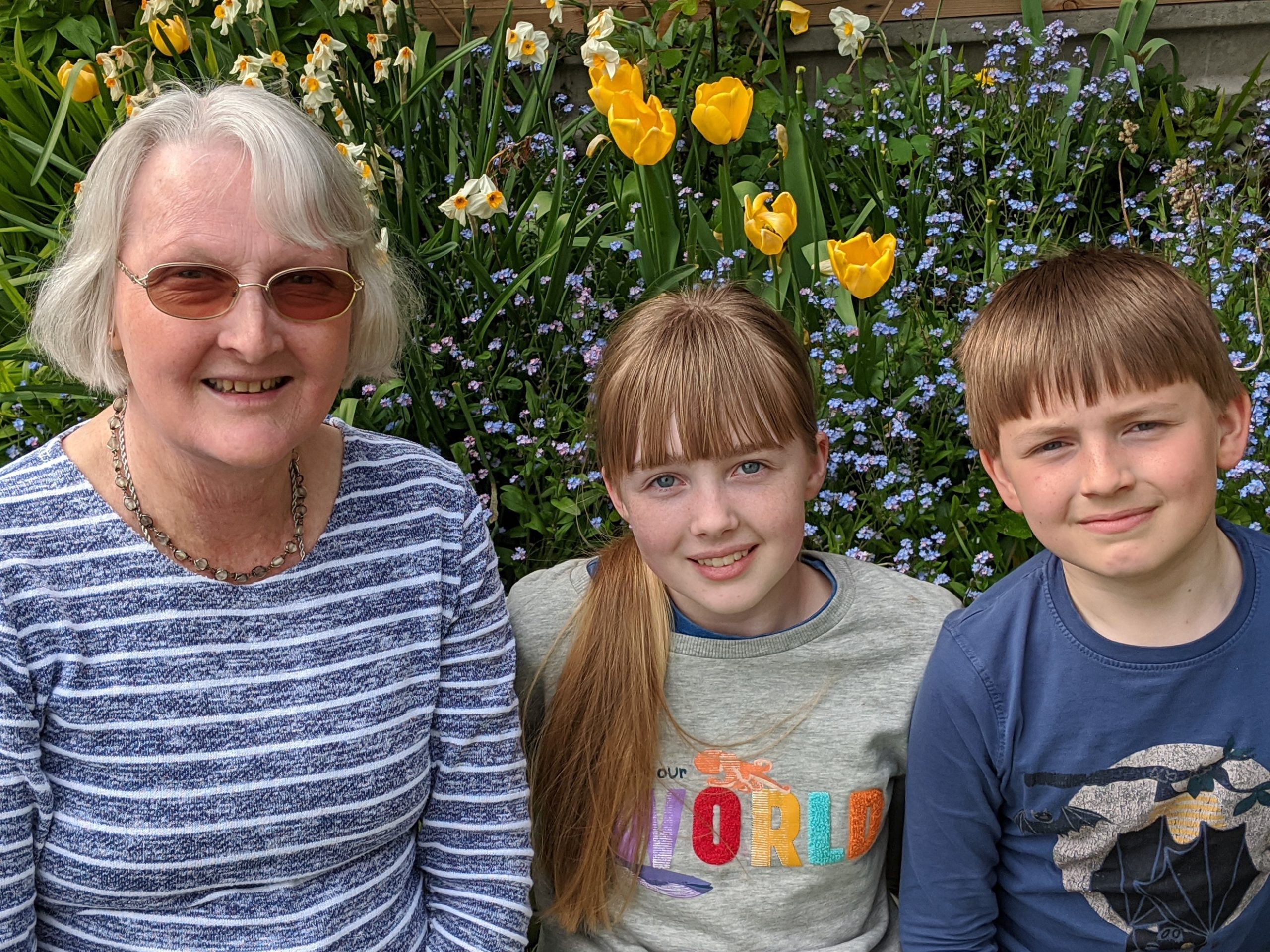Cathy Towers and her two older grandchildren