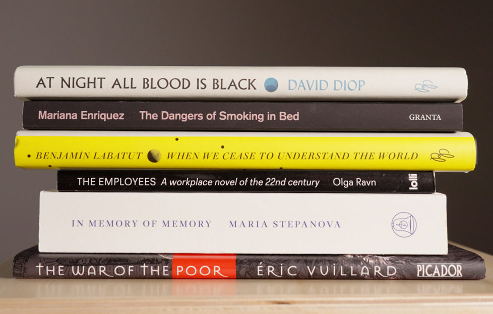The shortlisted books in a stack