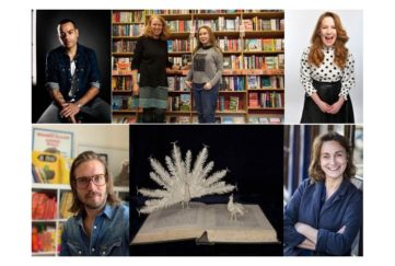 Top L-R: Ben Bailey Smith, Tracy Kenny & Bella Hall from Kett's Books, Viv Groskop Bottom L-R: Jim Field, book sculpture by Emma Taylor, Sarah Winman