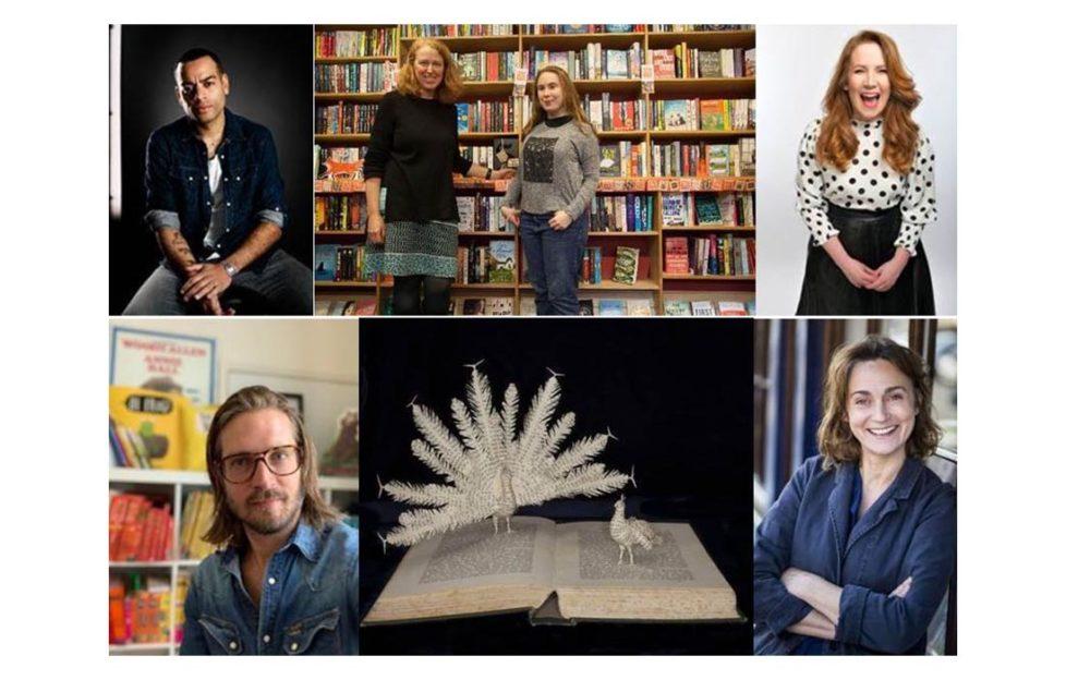 Top L-R: Ben Bailey Smith, Tracy Kenny & Bella Hall from Kett's Books, Viv Groskop Bottom L-R: Jim Field, book sculpture by Emma Taylor, Sarah Winman