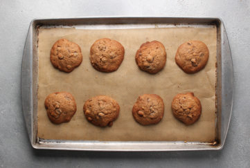 tray of choc chip cookies with guittard choc chips