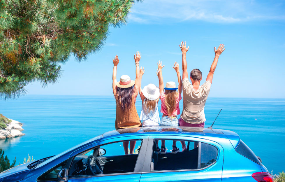 Family summer vacation. European holiday and car travel concept;