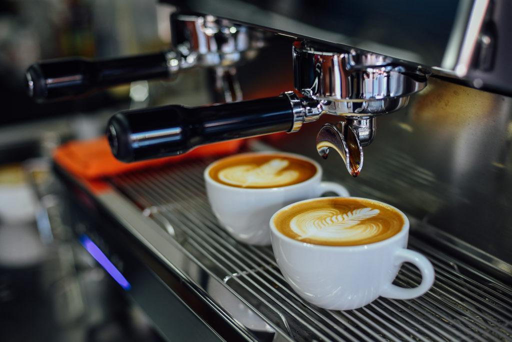 coffee latte art in coffee shop;