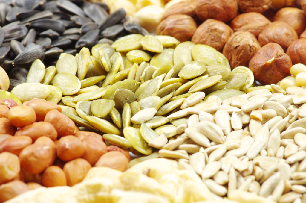 seeds and nuts with collection;
