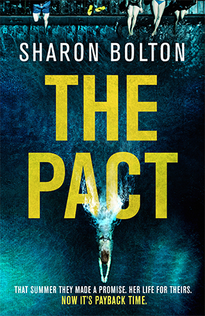 Cover of The Pact crime novel. A young woman dives from a high bar where her friends are sitting.