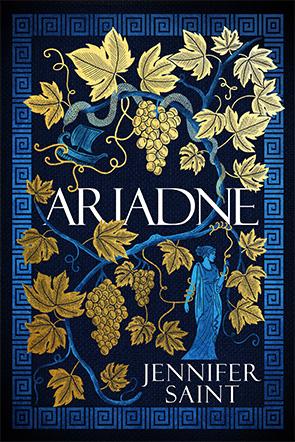 Cover ofnovel Aradne, gold vine leaves and blue figure of woman on dark blue background