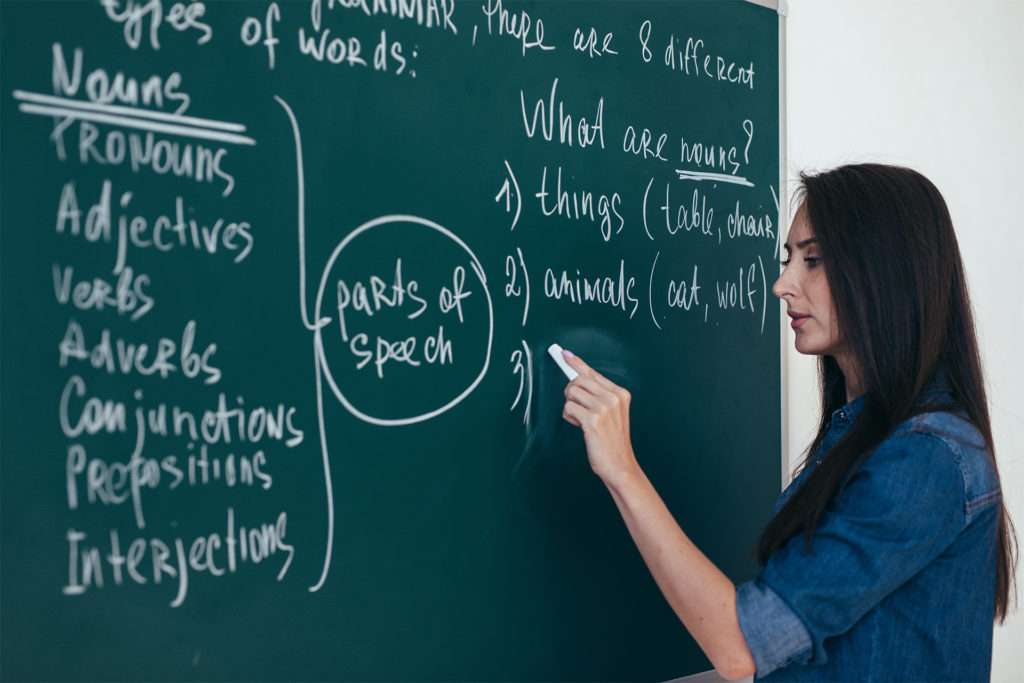 Portrait of woman teacher writing on blackboard in classroom; facts that are now wrong