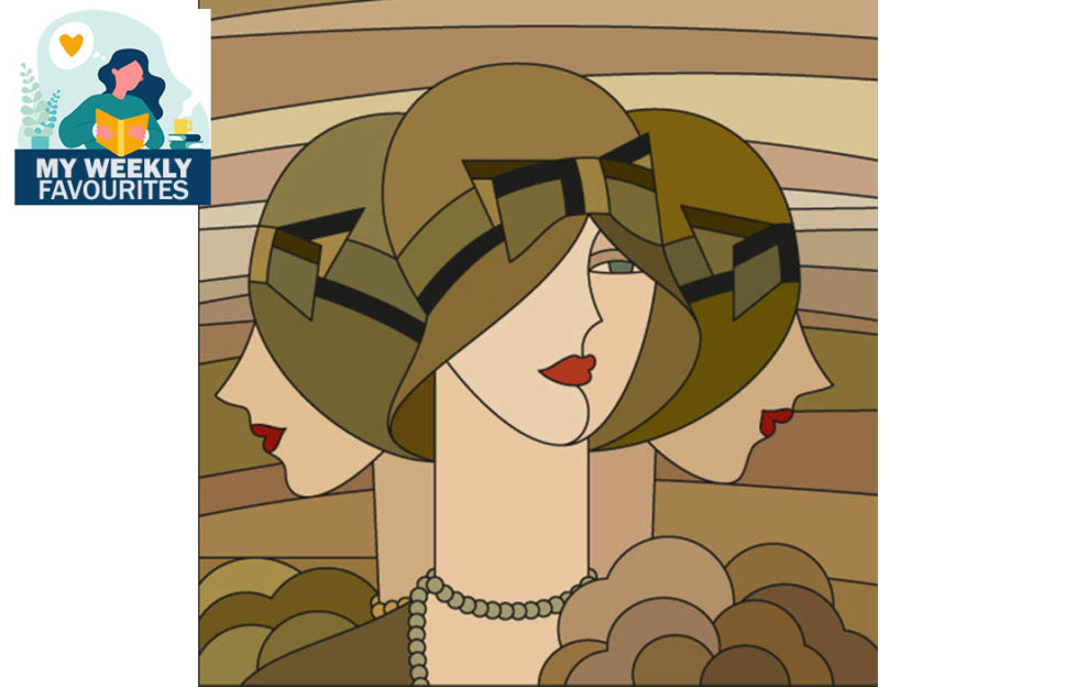 stained glass style image of 3 flapper girls in cloche hats