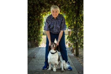 Crime author Joy Ellis, pictured under a yew hedge with a liver and white springer spaniel