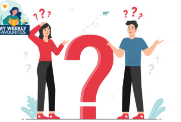 Man and woman thinking with big question mark. Doubts, problem, curious, confused. Questions concept illustration