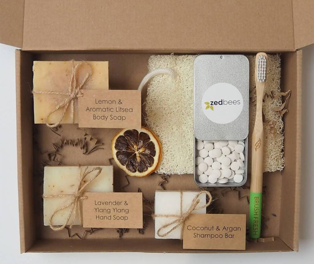 Gift set of shampoo bars and other eco toiletries