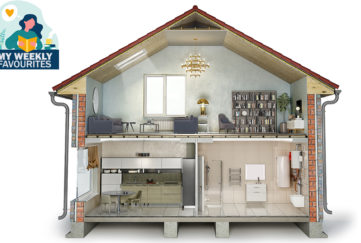 Cross section of modern house in the style of a dolls house with fitted kitchen, large bookcase and drainpipes