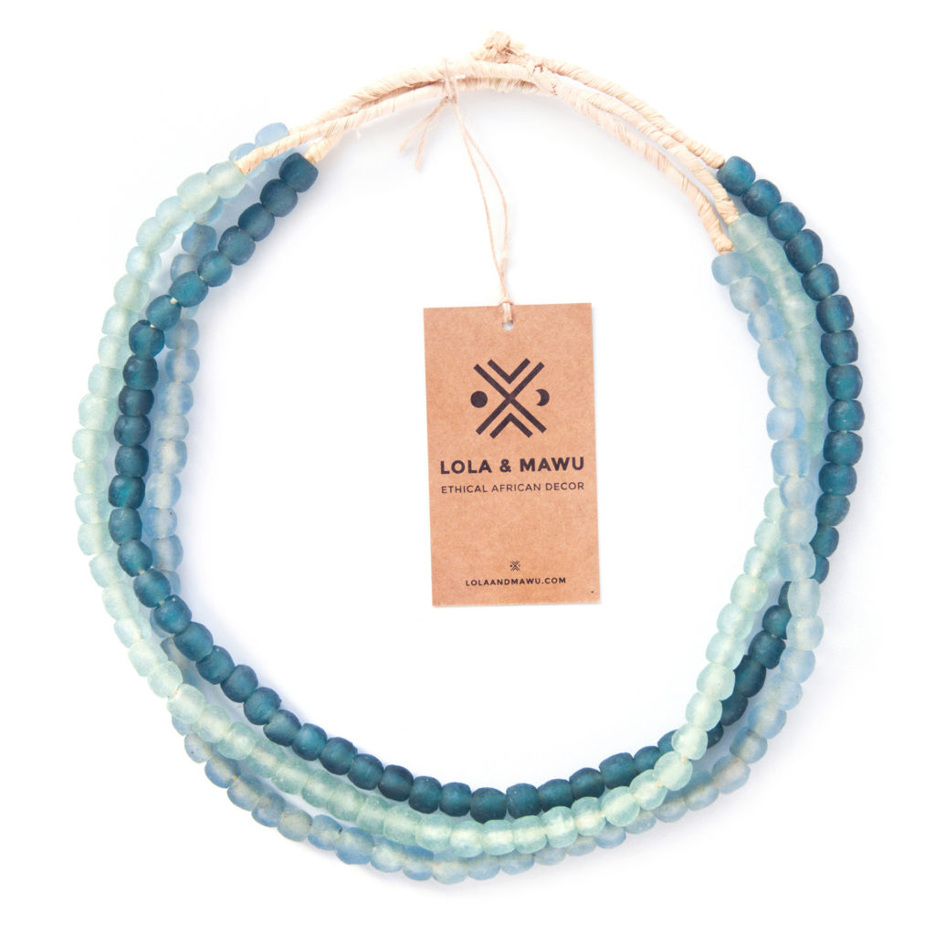 recycled glass beads, 3 strings in different shades of blue, eco gift