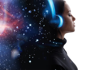 Woman with headphones meditating, stars in space in her mind