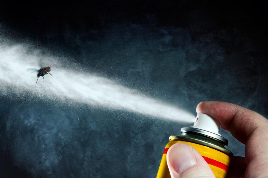 Man spraying on a fly a poisonous aerosol