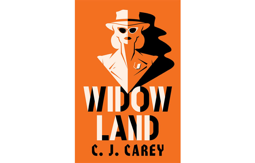 Cover of book Widowland, orange, black and white, stylised image of smart woman in sunglasses
