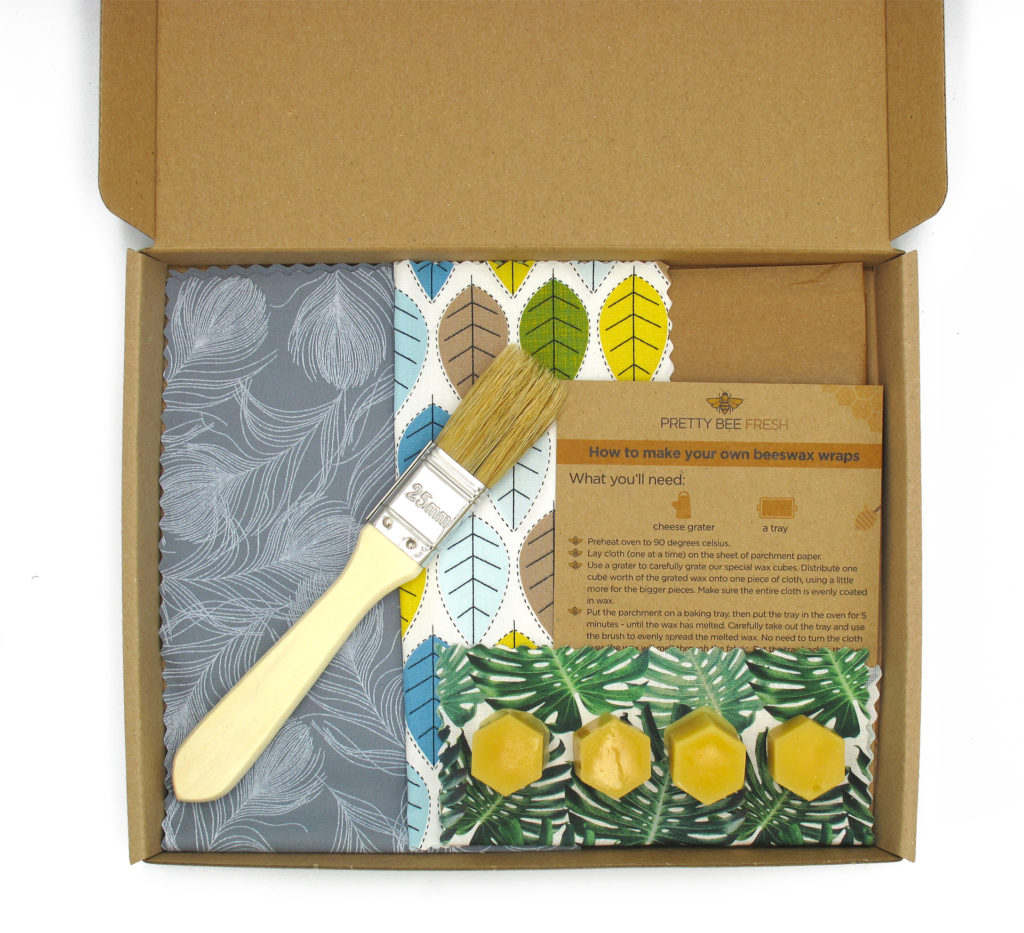 Beeswax wrap making kit, eco gift with soft brush, patterned fabrics and tiny pots of beeswax