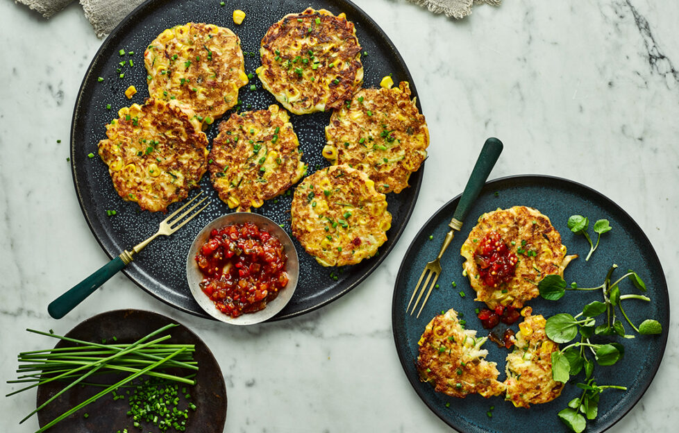 Sweetcorn and halloumi fritters