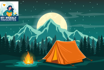 Family holiday, Tent and campfire, forest, mountains, full moon
