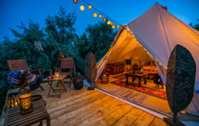Glamping at sunset Pic: Shutterstock