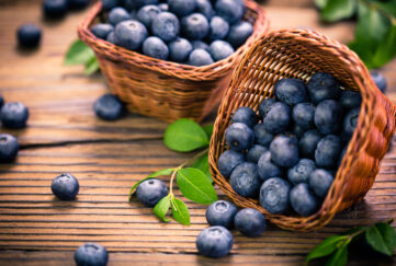Blueberries in the basket;