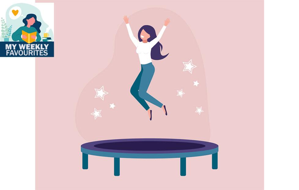 Illuatration of happy woman on trampoline