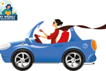 illustration woman driving blue convertible car, long scarf blowing behind