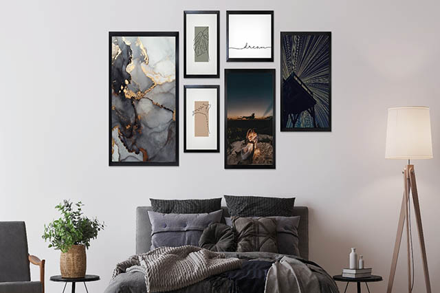 Bedroom with gallery wall