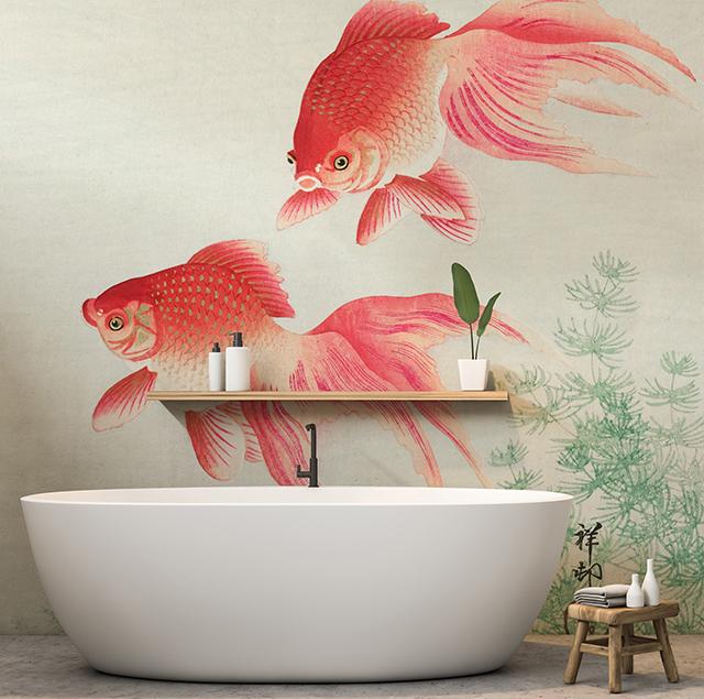 Large goldfish on wallpaper