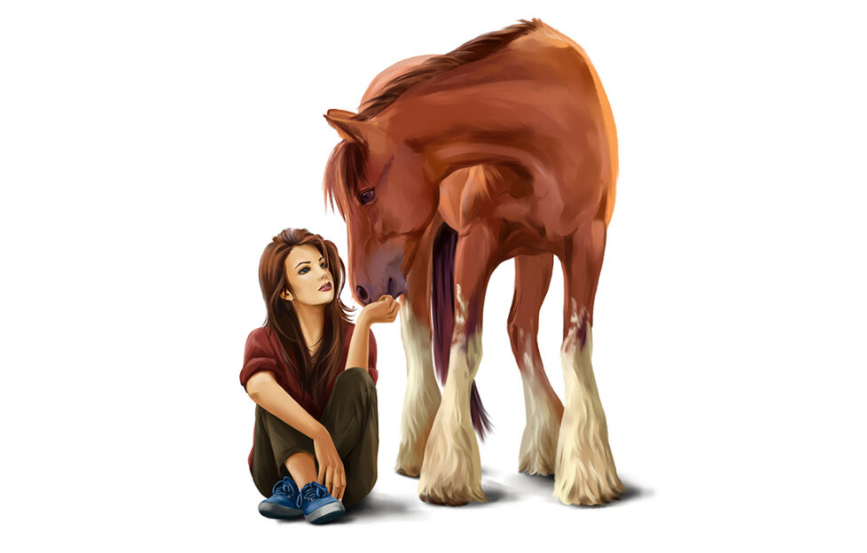 Lady with chestnut horse Illustration: Shutterstock