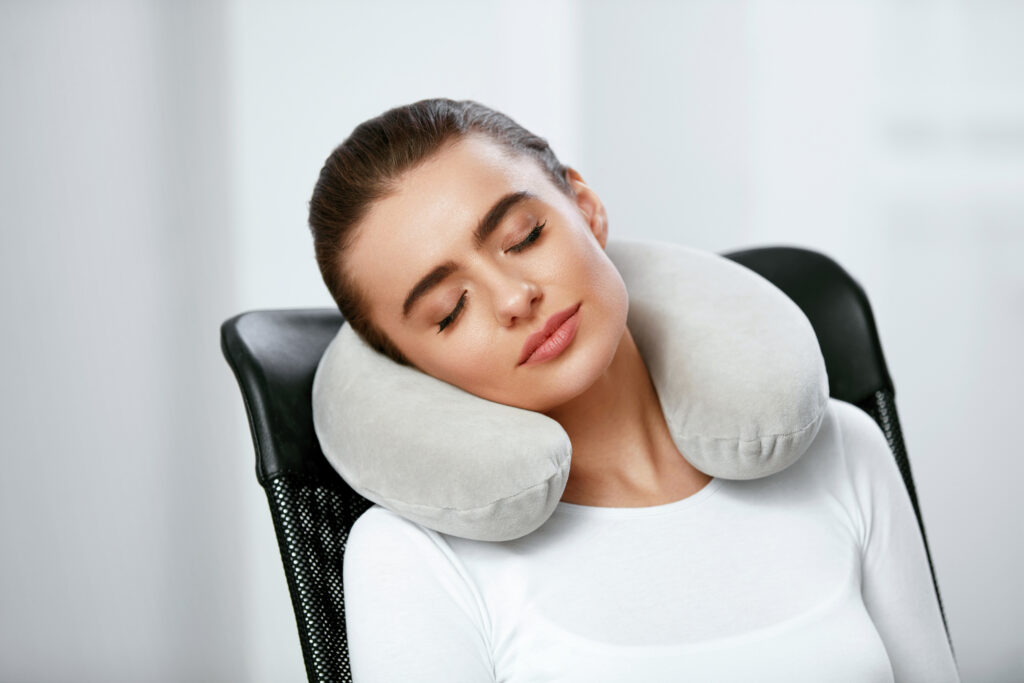 Travel Pillow. Woman With Pillow On Neck.;
