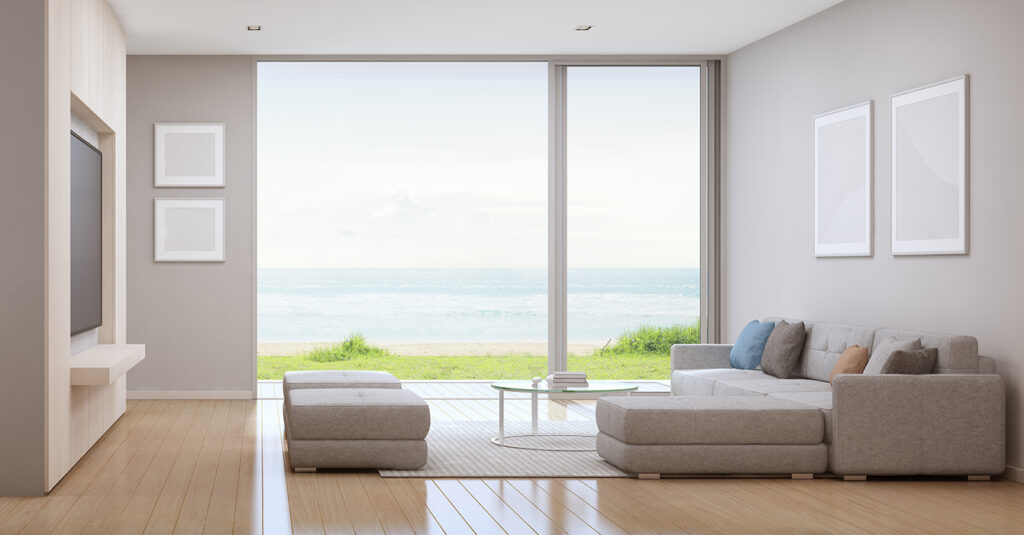 A beautiful living room with clean lines and wide glazing Pic: Shutterstock
