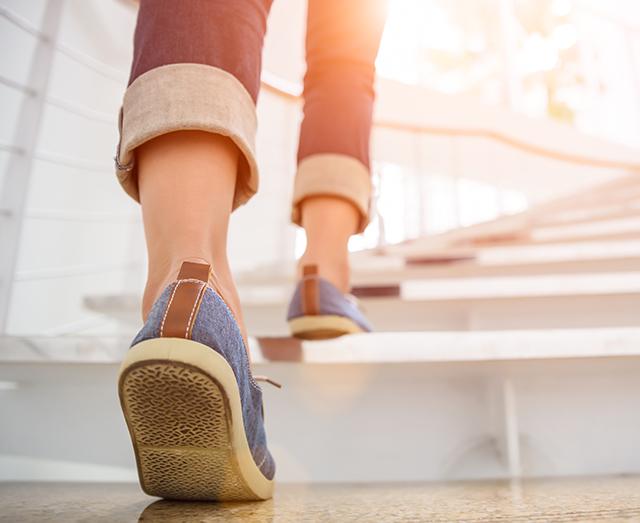 Feet climbing stairs Pic: Shutterstock