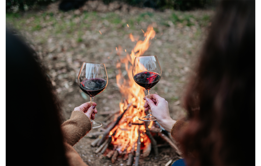 Two women toasting each with red wine in front of camp fire in garden