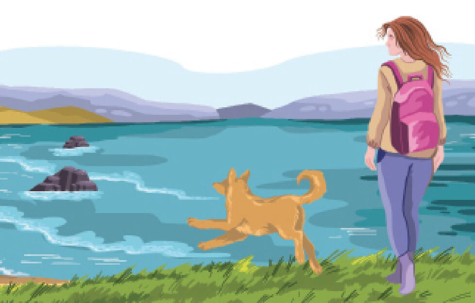 Lady and dog at beach Pic: Shutterstock