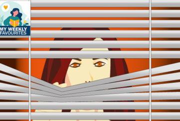 Woman looks through venetian blind