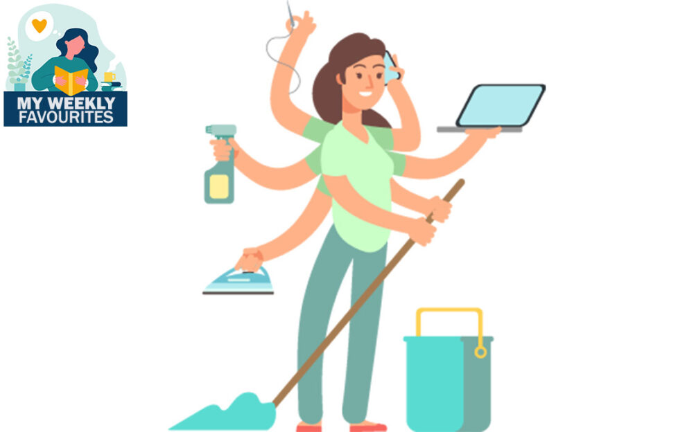 Woman with 7 arms doing lots of household jobs